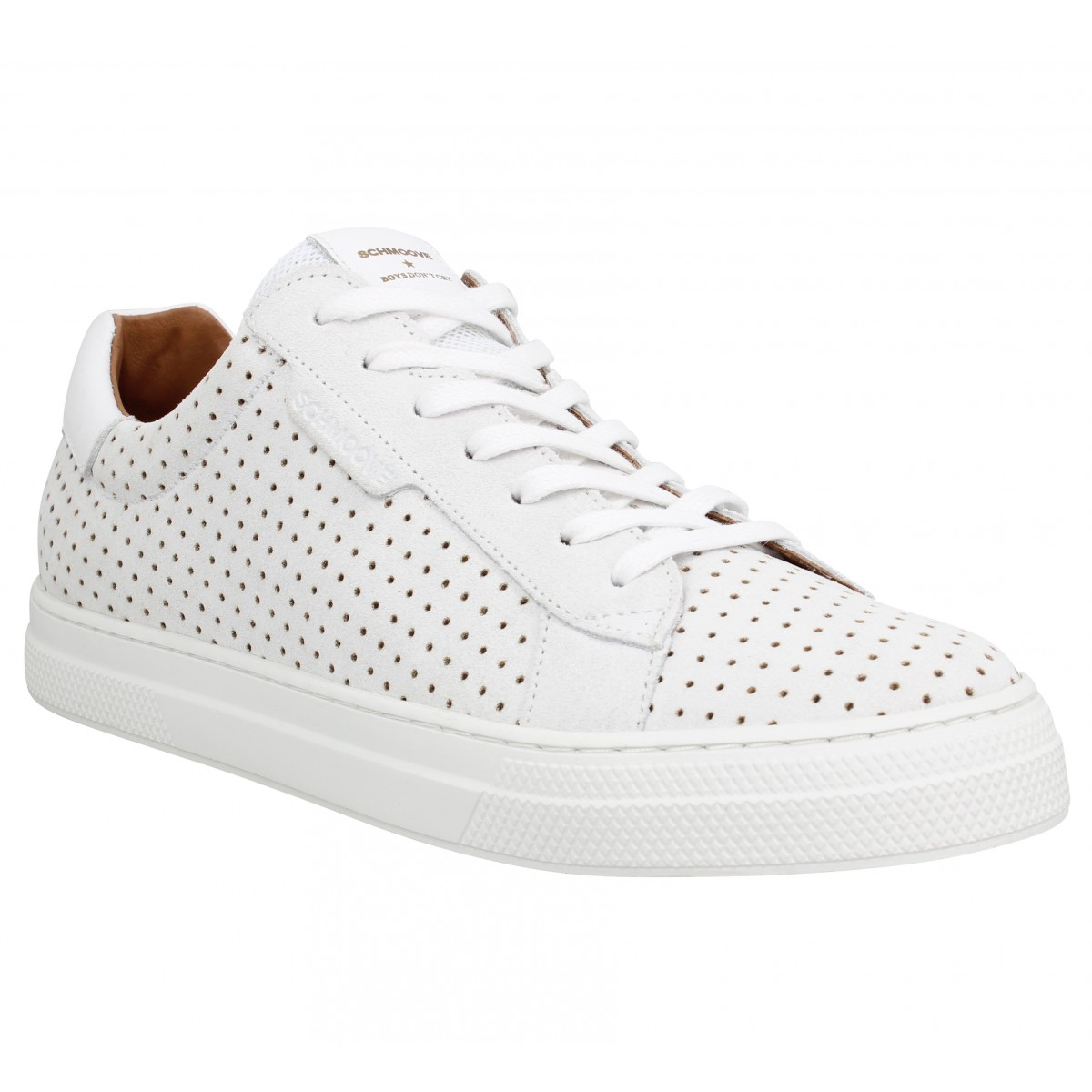 Baskets SCHMOOVE Spark Clay punch suede Homme Blanc