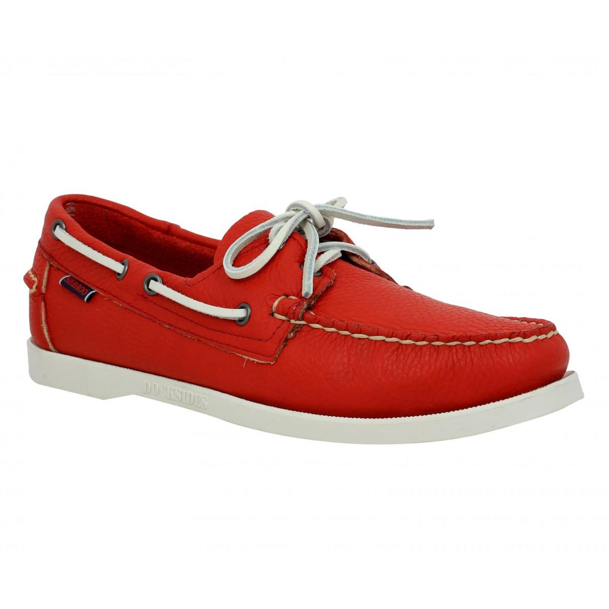 Chaussures bateaux SEBAGO Docksides cuir Homme Rouge Vif