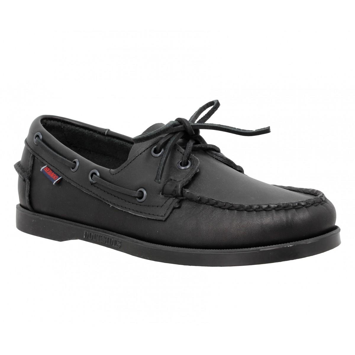 Chaussures bateaux SEBAGO Docksides cuir Homme Black