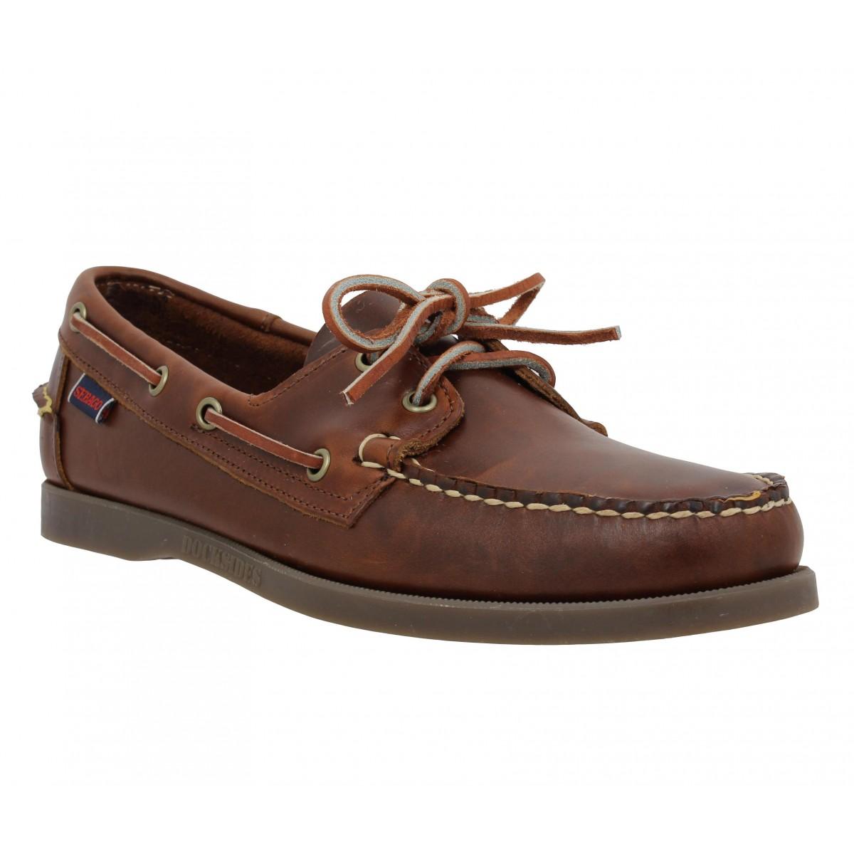Chaussures bateaux SEBAGO Docksides cuir Homme Chocolat