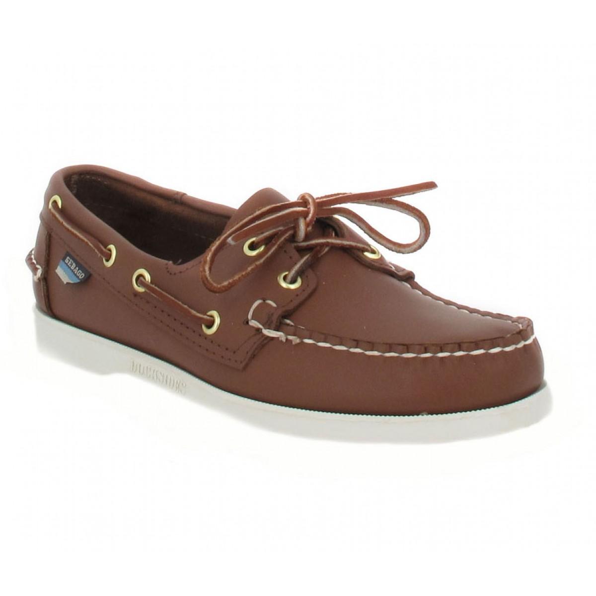 Chaussures bateaux SEBAGO Docksides cuir Homme Cognac