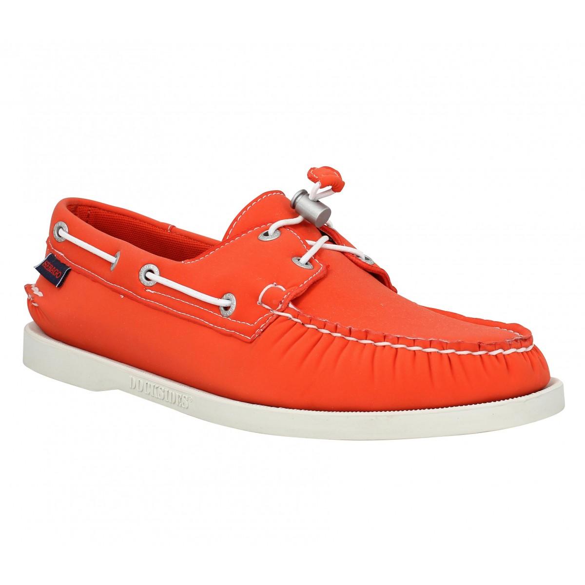 Chaussures bateaux SEBAGO Docksides neoprene Homme Orange