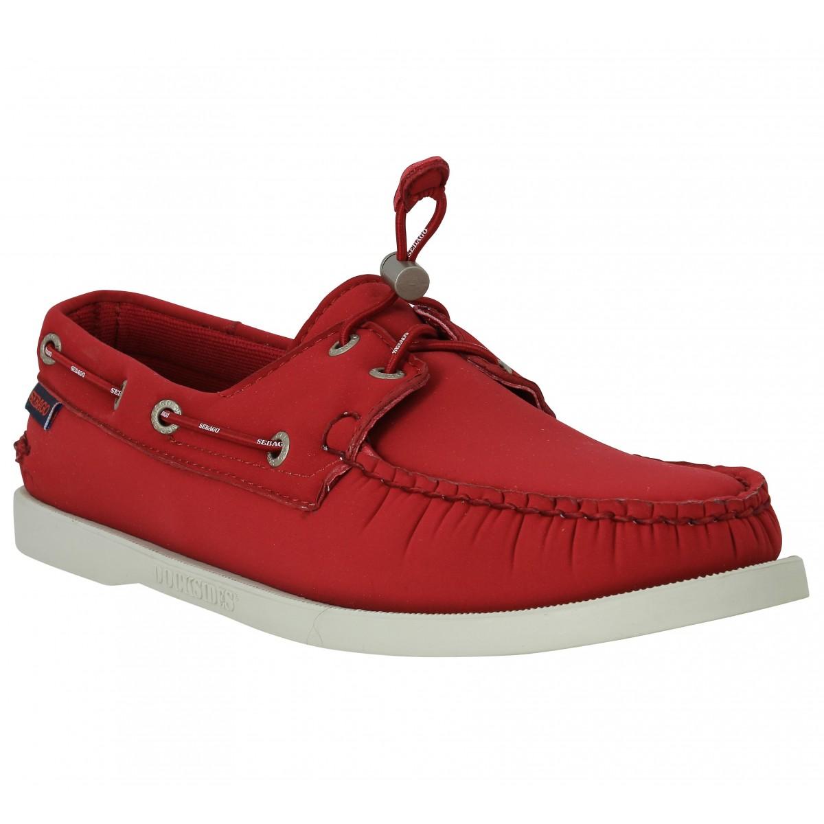Chaussures bateaux SEBAGO Docksides neoprene Rouge