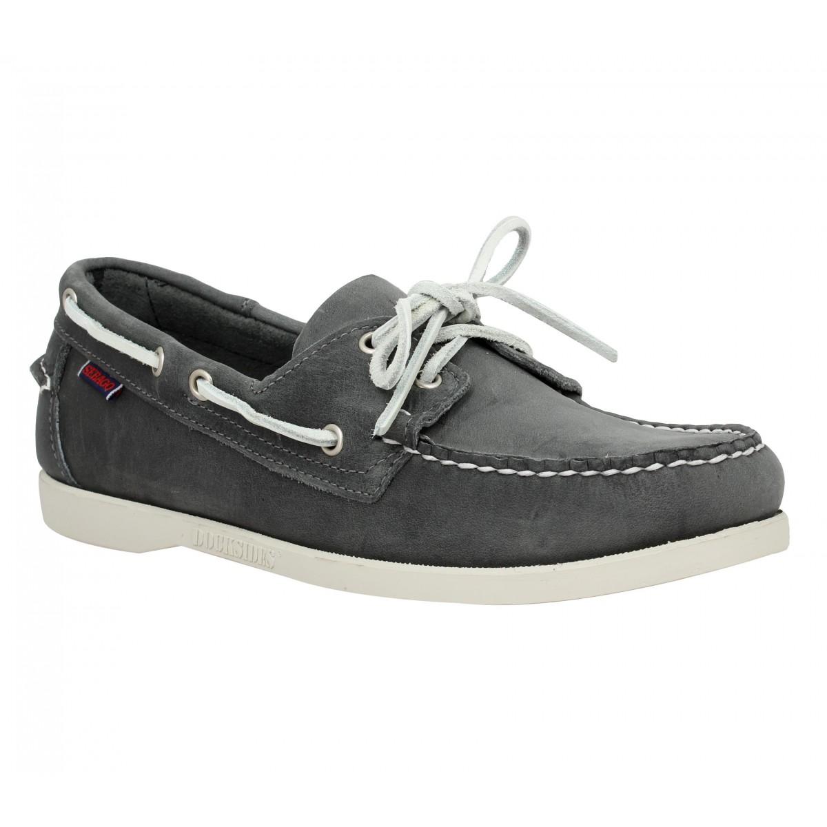 Chaussures bateaux SEBAGO Docksides velours Homme Gris