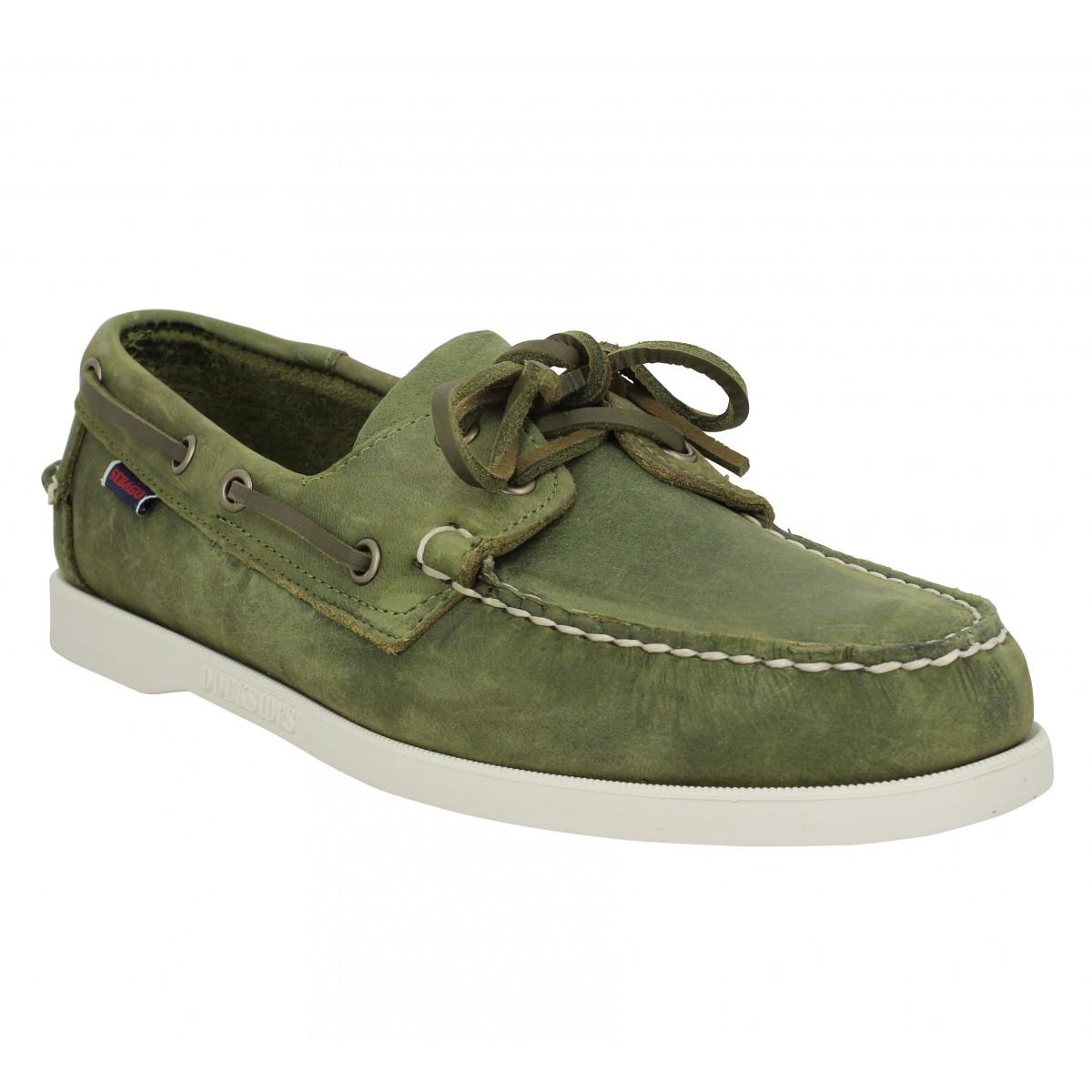 Chaussures bateaux SEBAGO Docksides Portland cuir crazy Homme Green Military