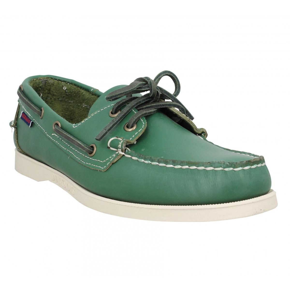 Chaussures bateaux SEBAGO Docksides Portland cuir Homme Green Forest