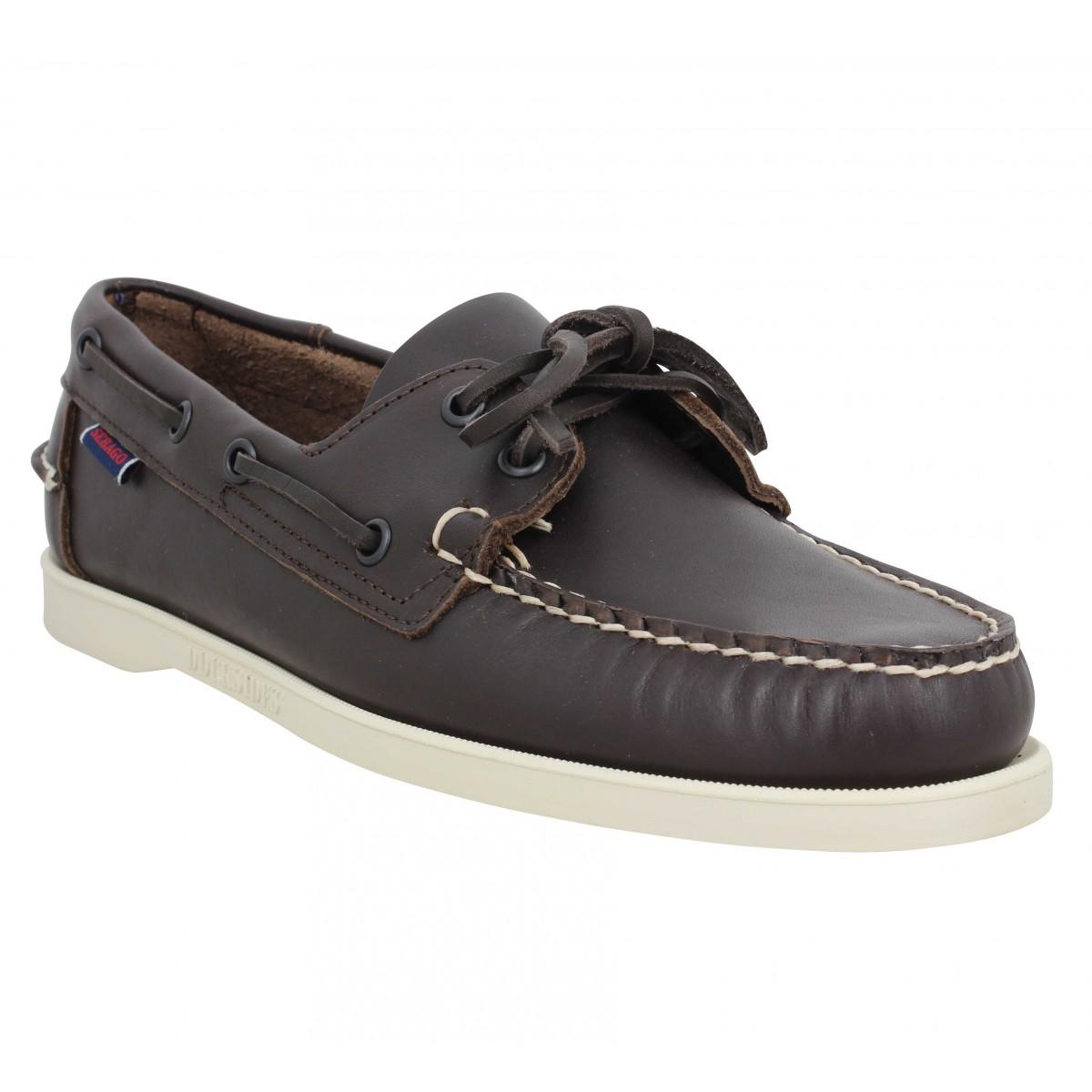 Chaussures bateaux SEBAGO Docksides Portland cuir Homme Marron