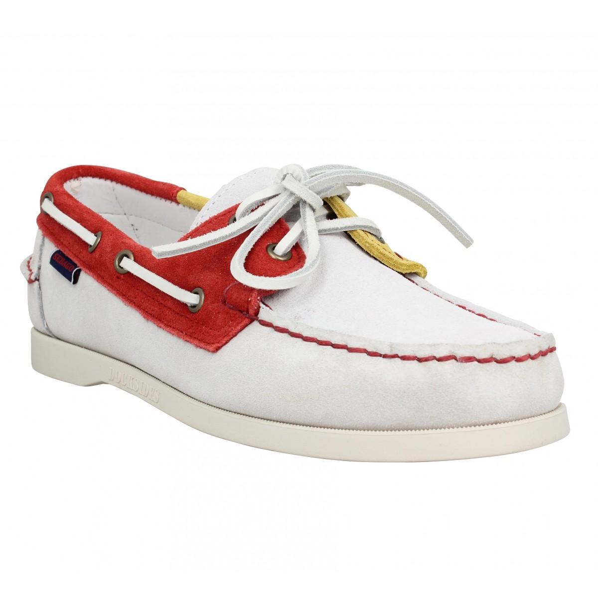 Chaussures bateaux SEBAGO Docksides Portland suede Homme Blanc Rouge Jaune