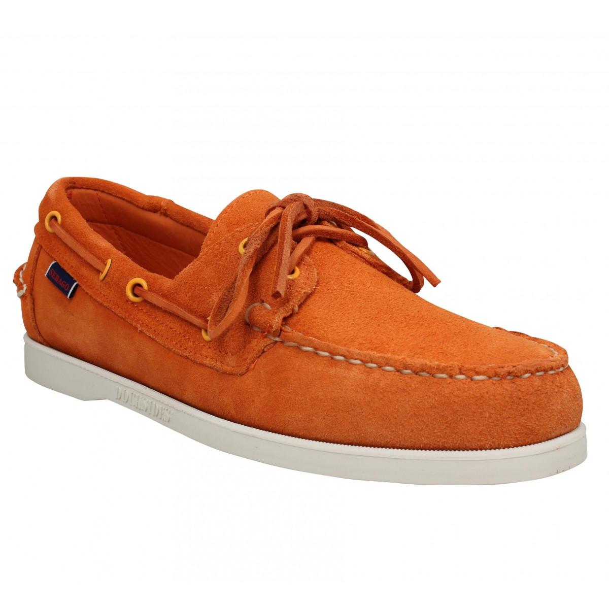 Chaussures bateaux SEBAGO Docksides Portland suede Homme Orange