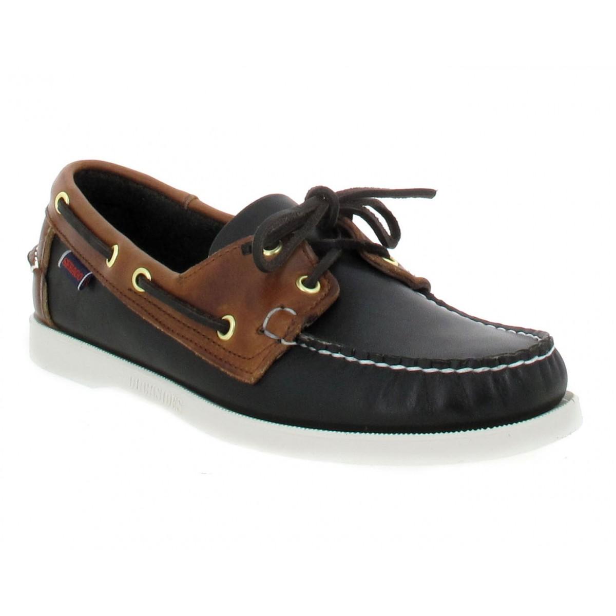 Chaussures bateaux SEBAGO Docksides Spinnaker cuir Homme Noir + Marron