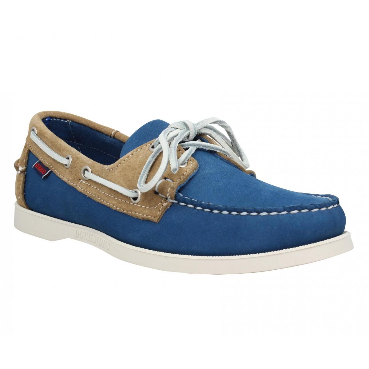 Chaussures bateaux SEBAGO Docksides Spinnaker velours Homme Bleu + Sable