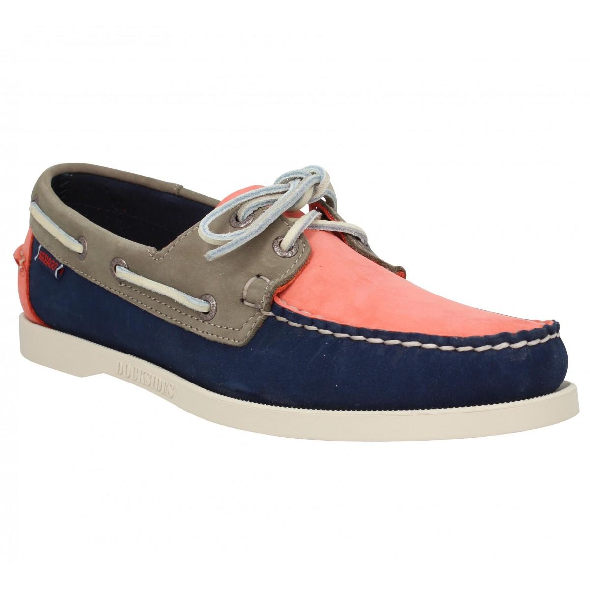 Chaussures bateaux SEBAGO Docksides Spinnaker velours Homme Navy Coral