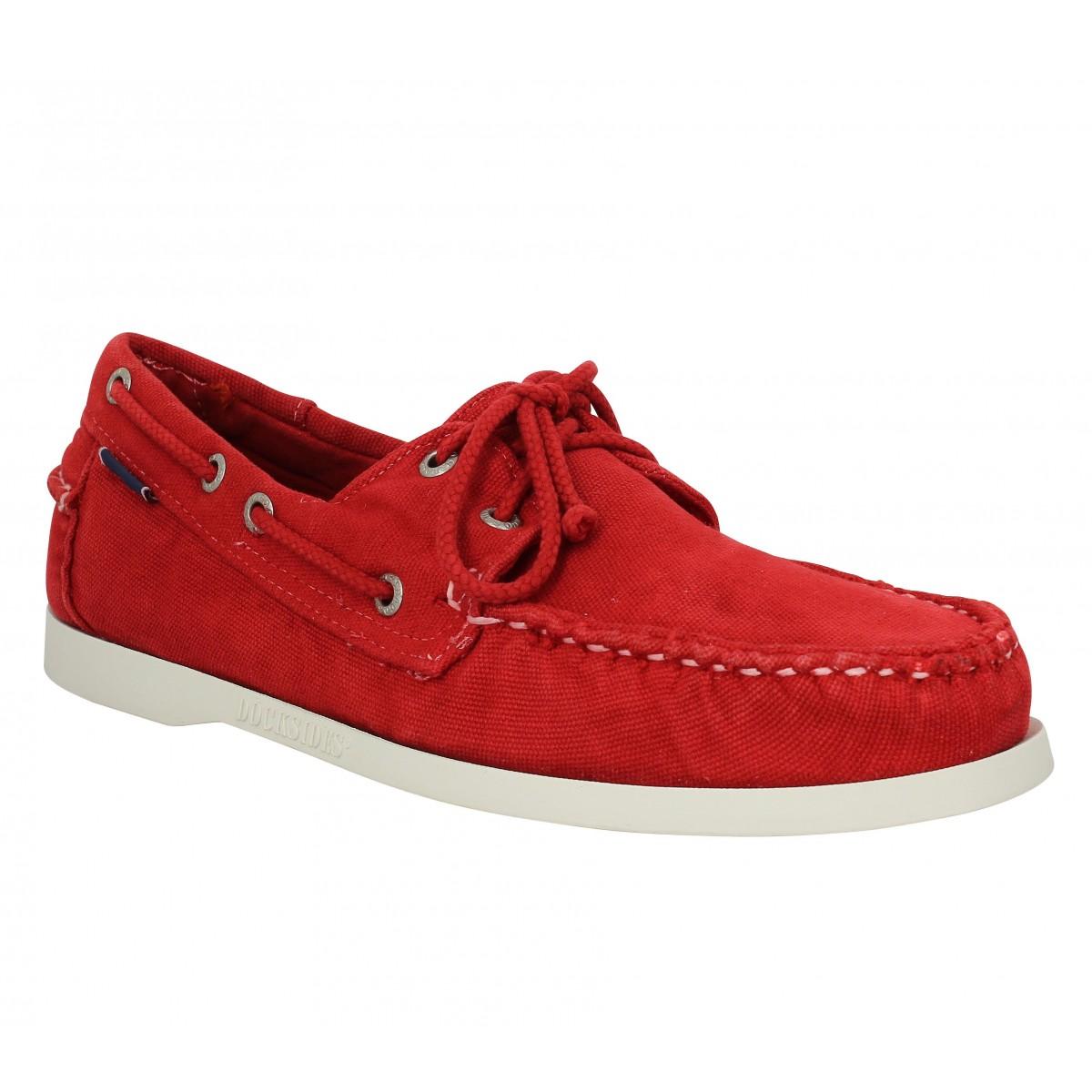 Chaussures bateaux SEBAGO Docksides toile Rouge