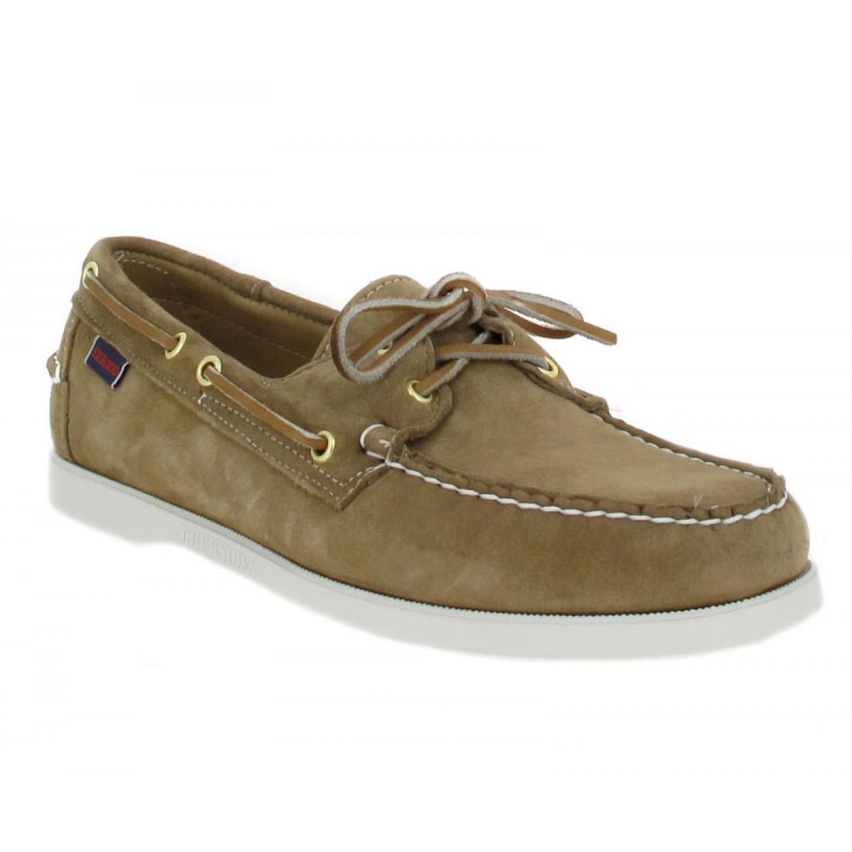 Chaussures bateaux SEBAGO Docksides velours Homme Beige