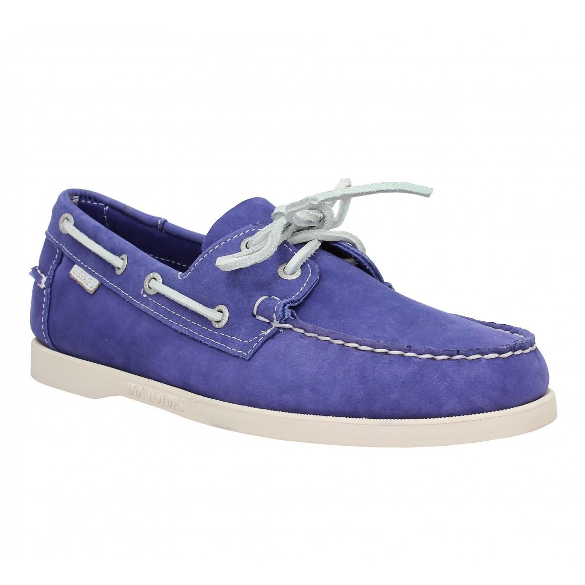 Chaussures bateaux SEBAGO Docksides velours Homme Bleu Violet