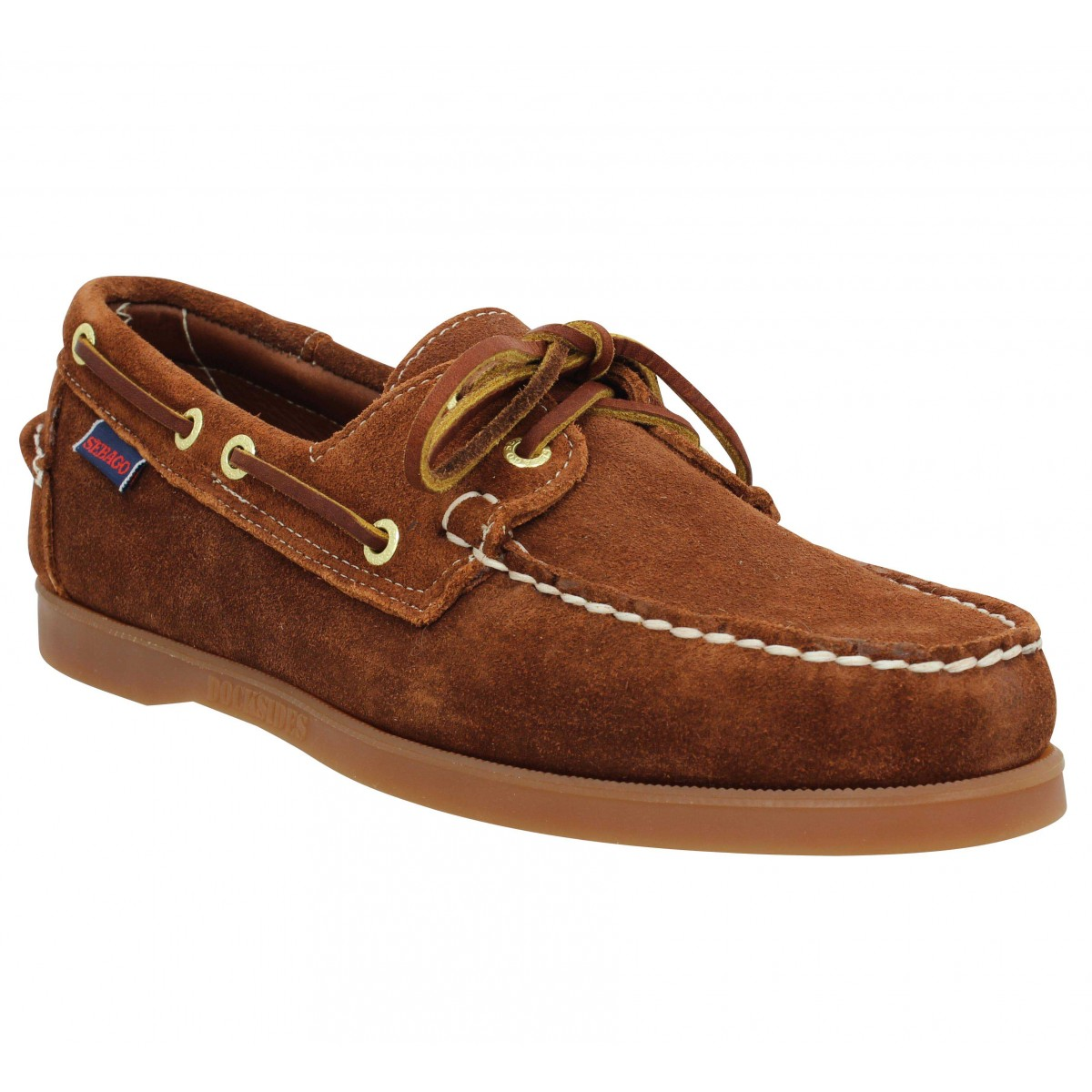 Chaussures bateaux SEBAGO Docksides velours Homme Cognac