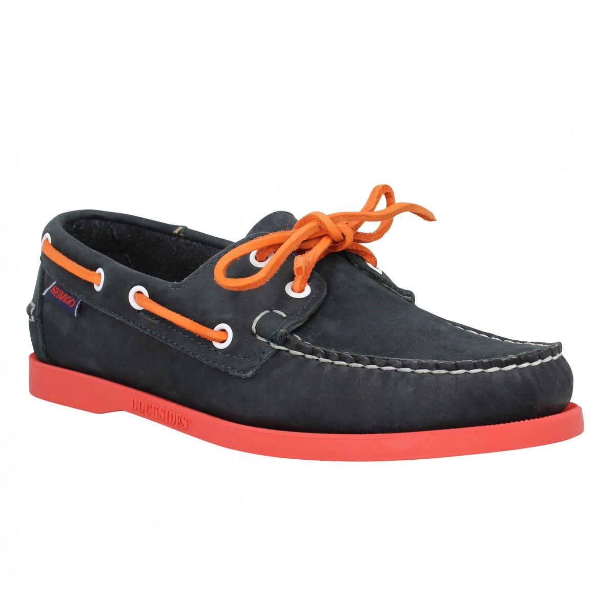 Chaussures bateaux SEBAGO Docksides velours Homme Marine + Rouge
