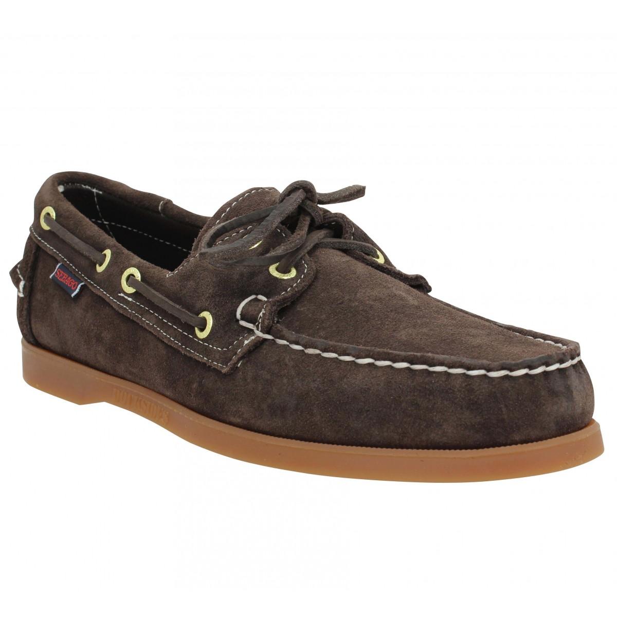 Chaussures bateaux SEBAGO Docksides velours Homme Marron Fonce