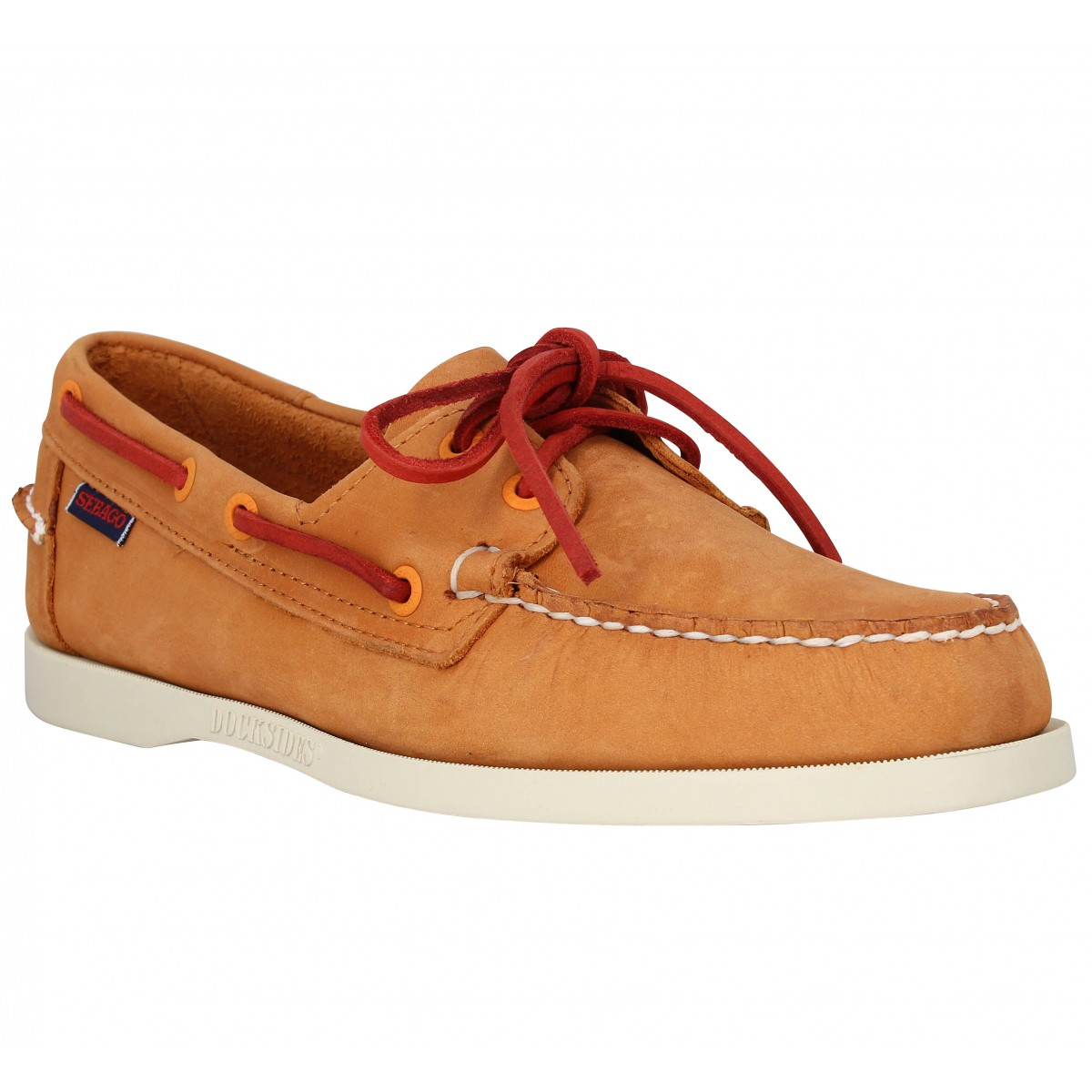Chaussures bateaux SEBAGO Docksides velours Homme Orange