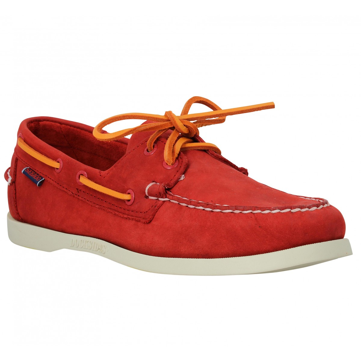 Chaussures bateaux SEBAGO Docksides velours Red