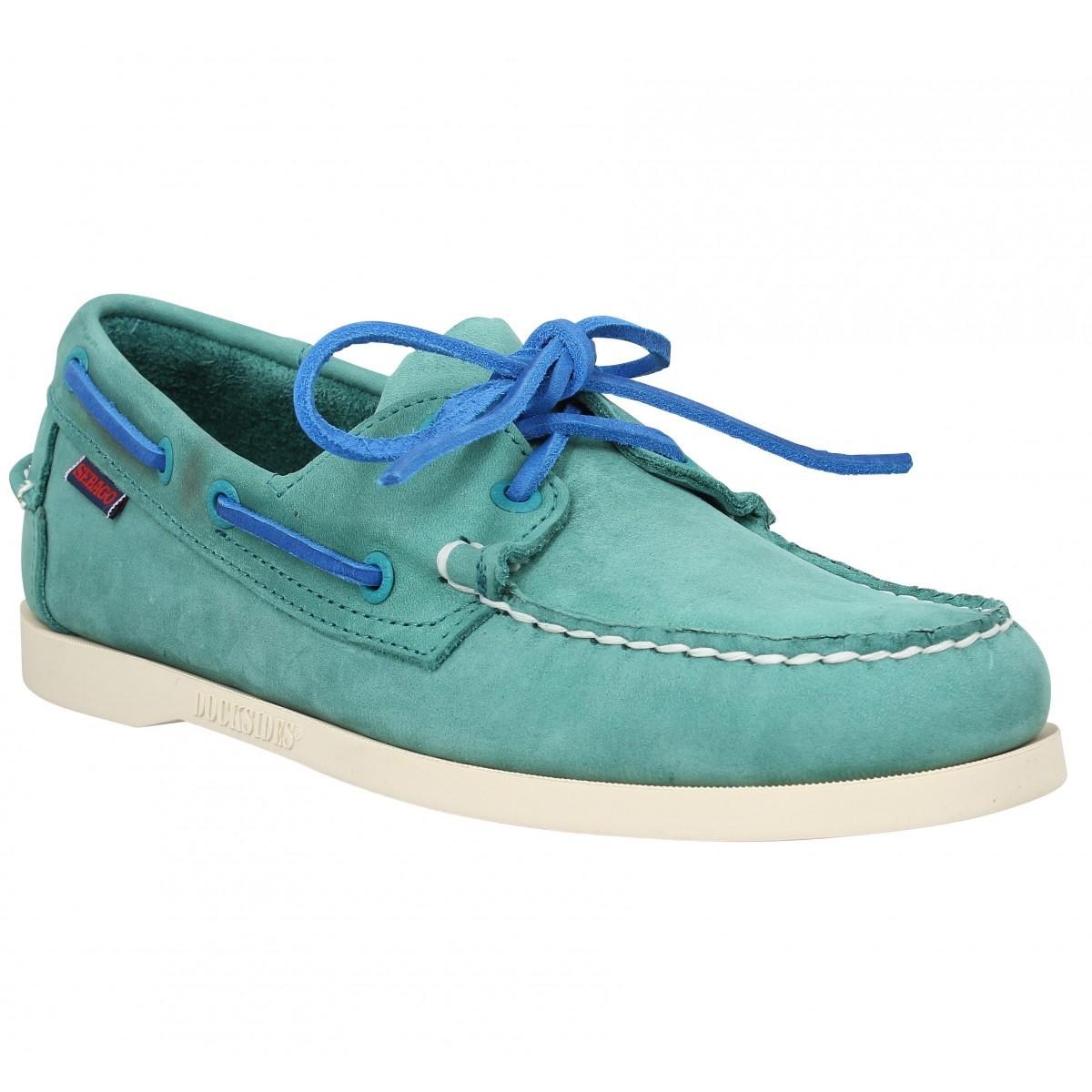 Chaussures bateaux SEBAGO Docksides velours Teal