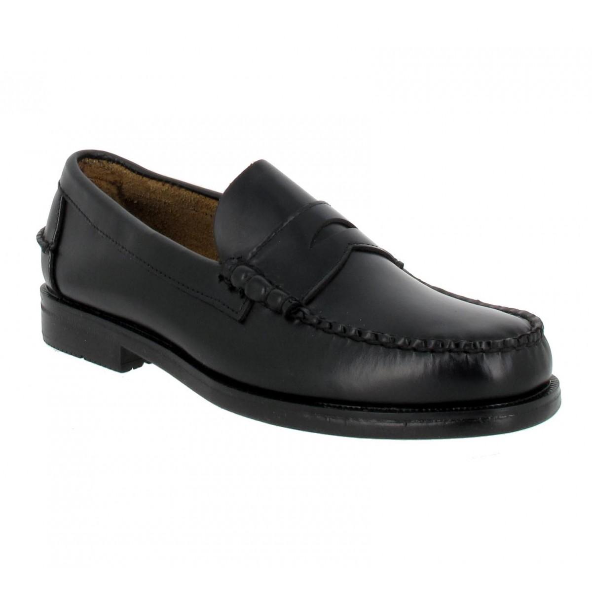 Mocassins SEBAGO Grant 3E cuir Homme Noir