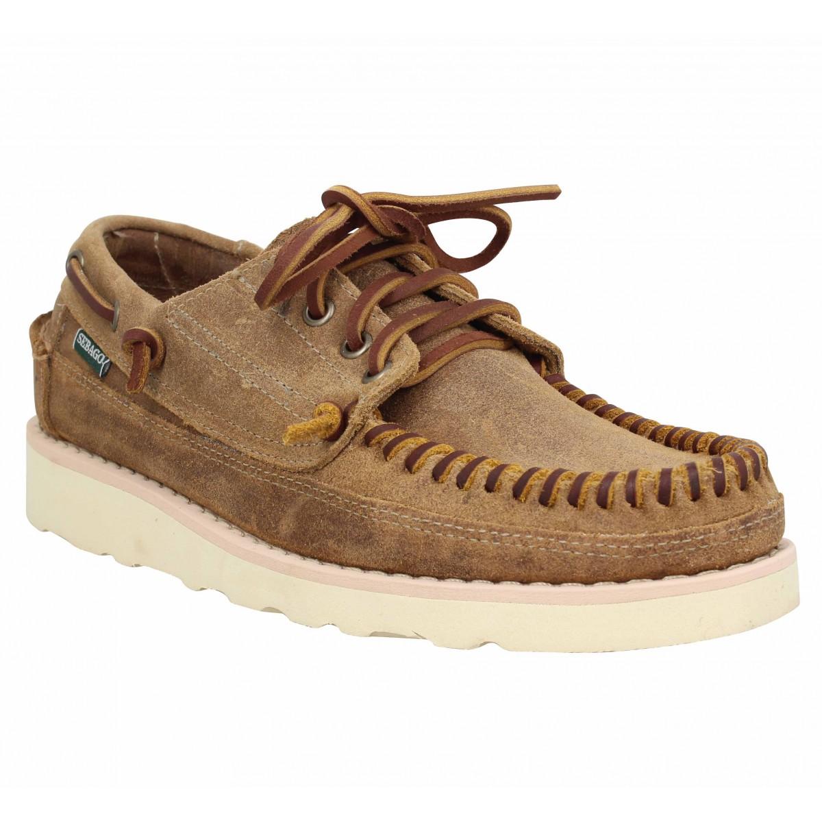Chaussures bateaux SEBAGO Keuga croute velours Homme Camel