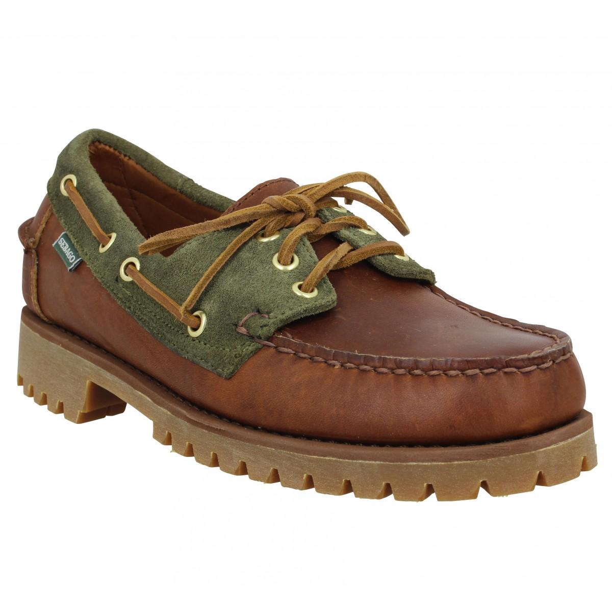 Chaussures bateaux SEBAGO Trickey Lug cuir velours Homme Cognac Green