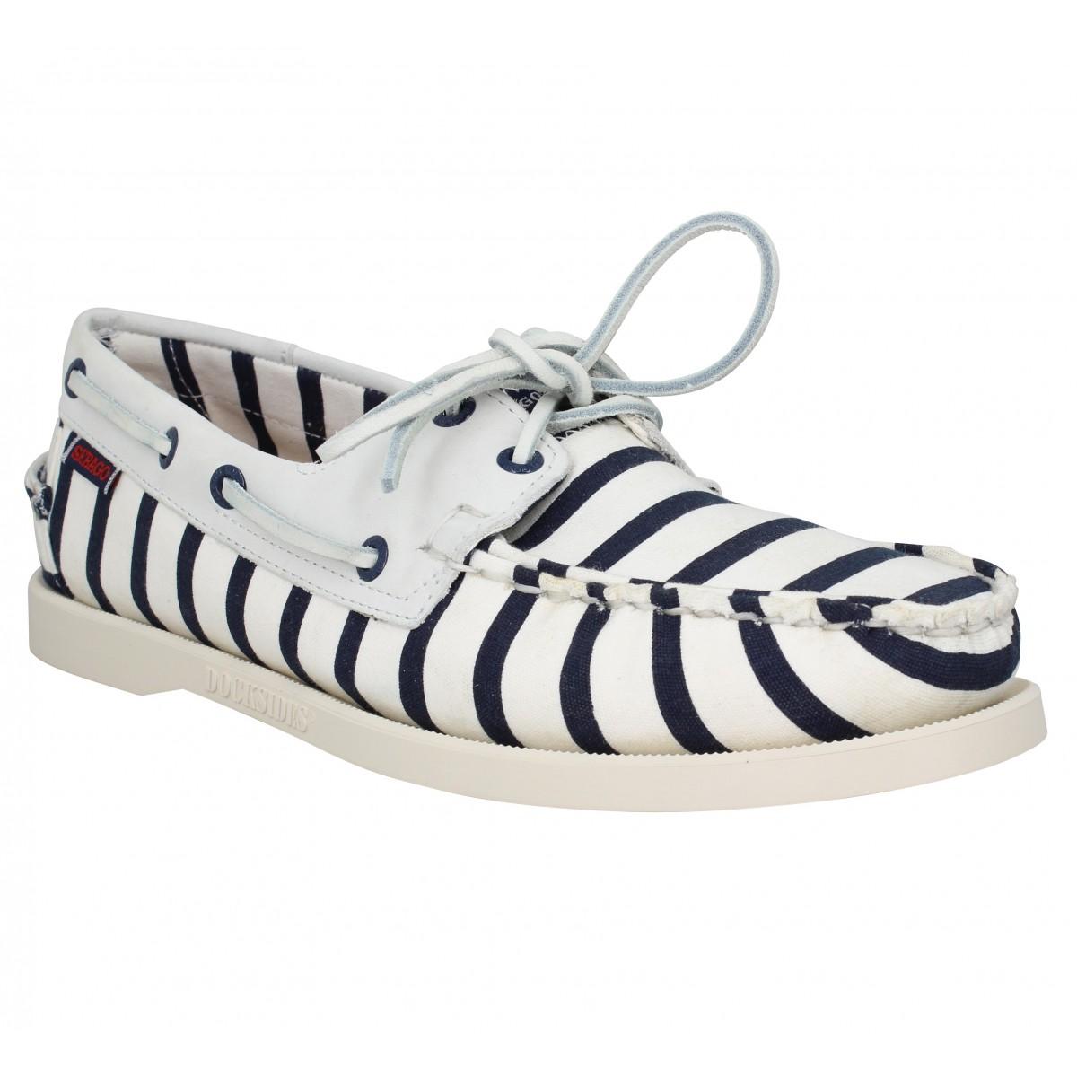 Chaussures bateaux SEBAGO X ARMOR LUX Spinnaker Stripe toile Homme Blanc