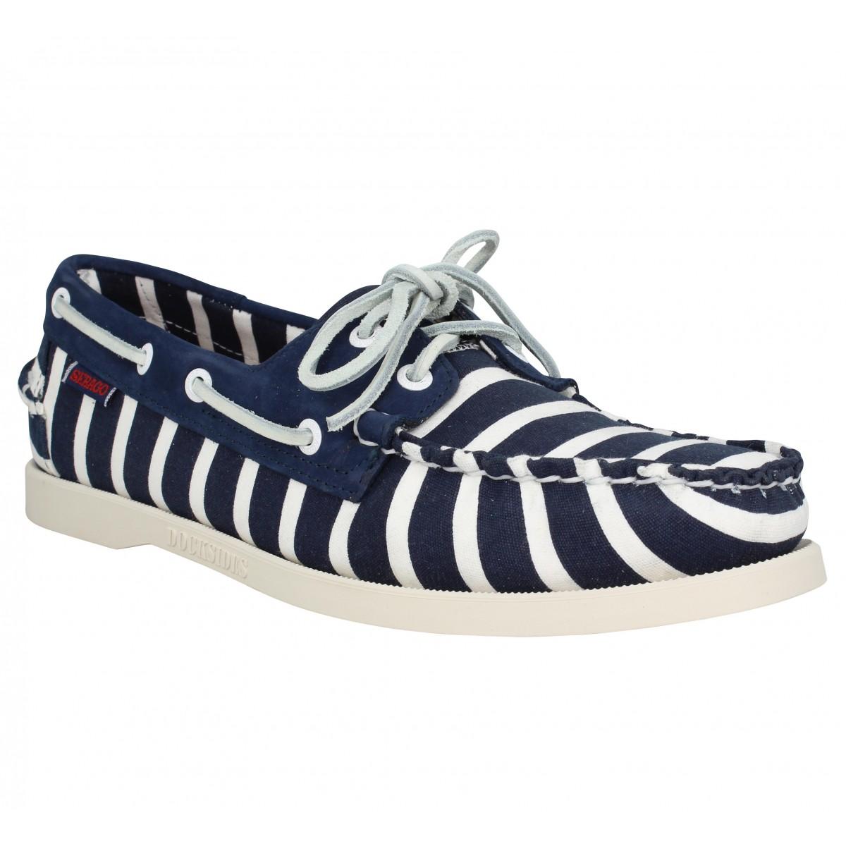 Chaussures bateaux SEBAGO X ARMOR LUX Spinnaker Stripe toile Homme Navy