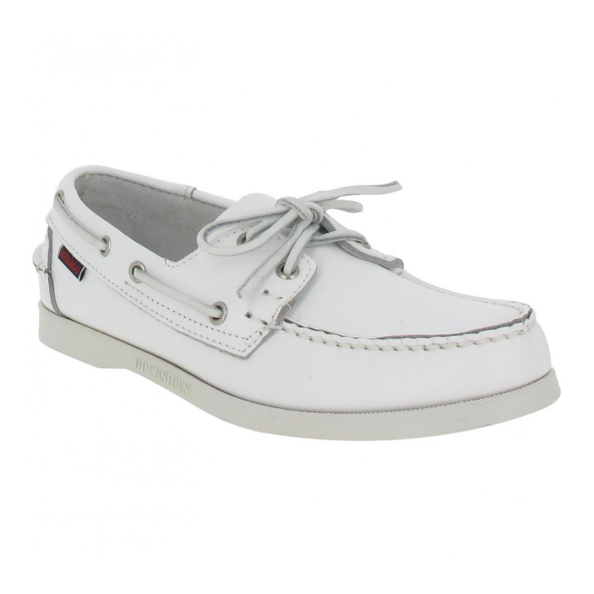 Chaussures bateaux SEBAGO Docksides cuir Homme Blanc