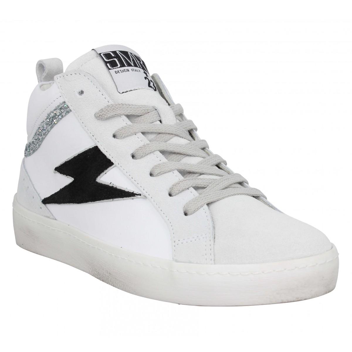 Baskets SEMERDJIAN Alfa velours cuir Femme Blanc