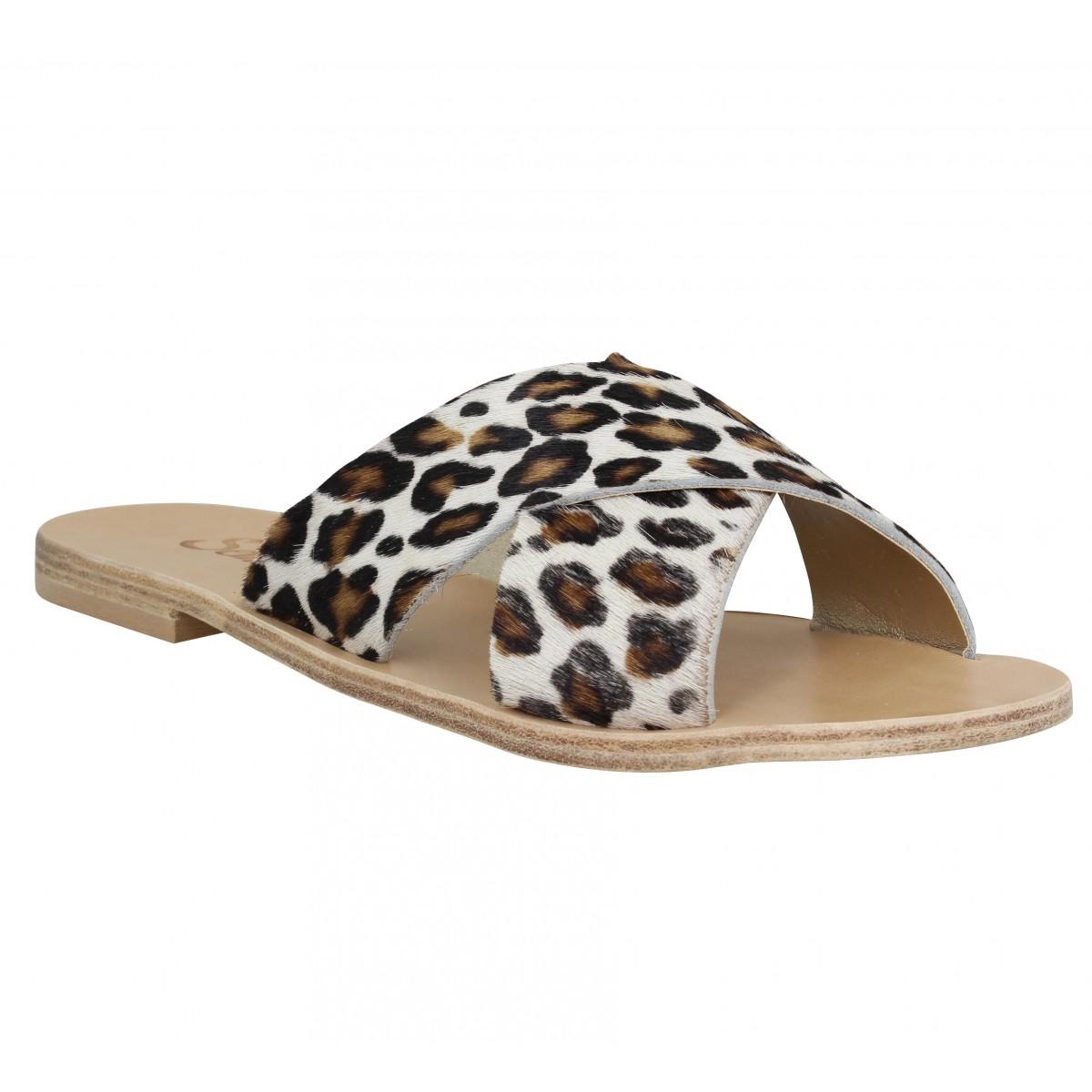 Nu-pieds SEMERDJIAN Bea cuir Femme Leopard