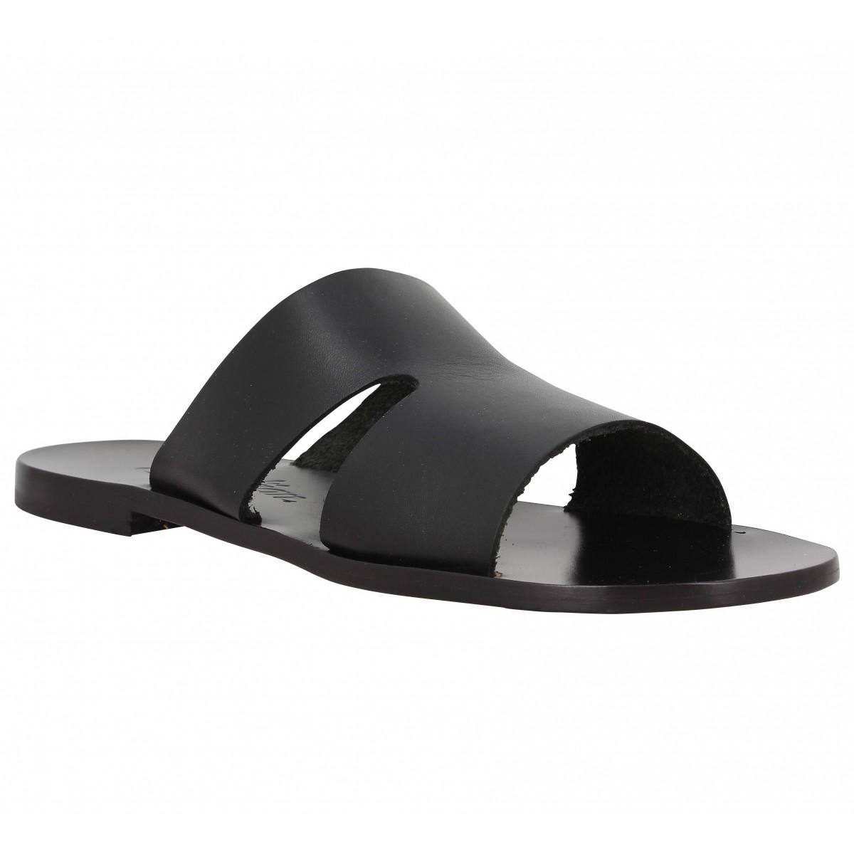Nu-pieds SEMERDJIAN Begonia cuir Femme Noir