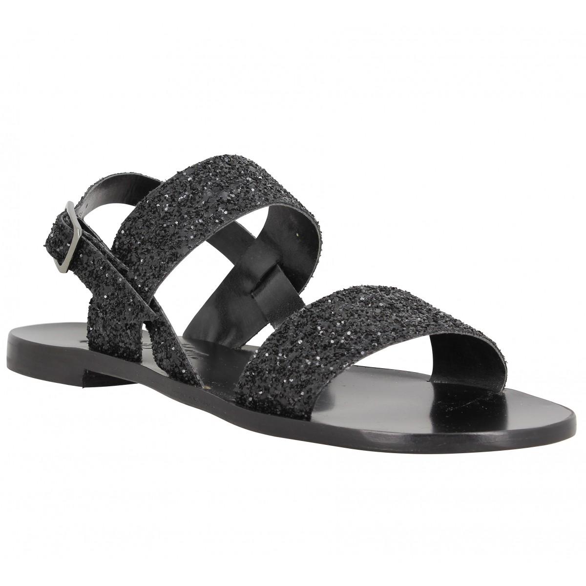 Nu-pieds SEMERDJIAN Bonsai glitter Femme Noir