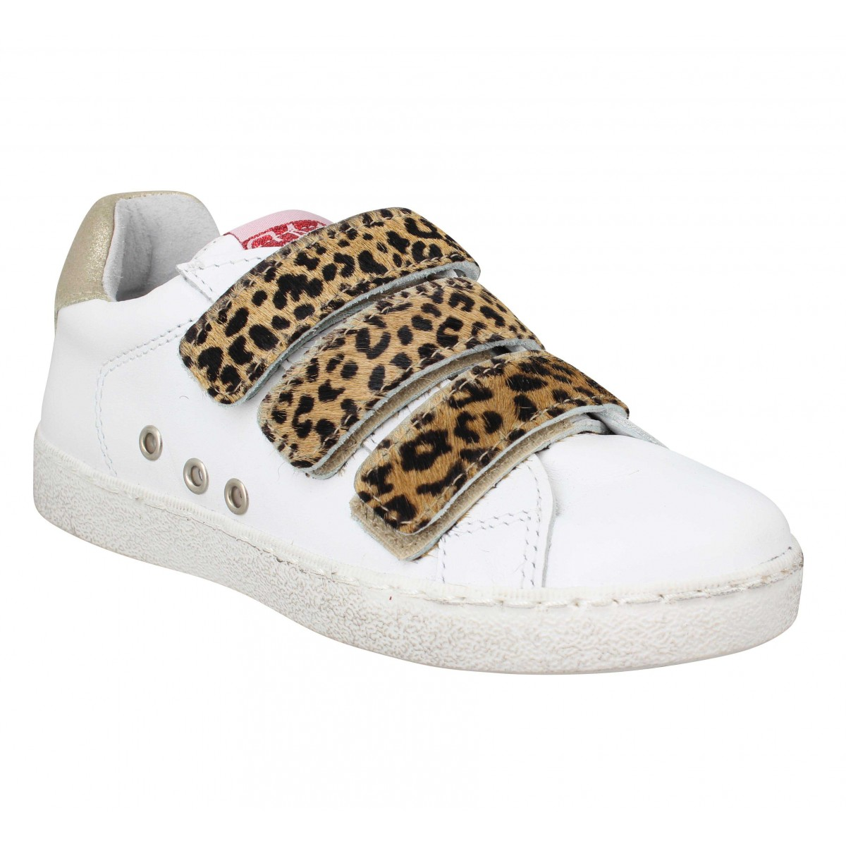 Baskets SEMERDJIAN Elaine cuir pony Enfant Blanc Or