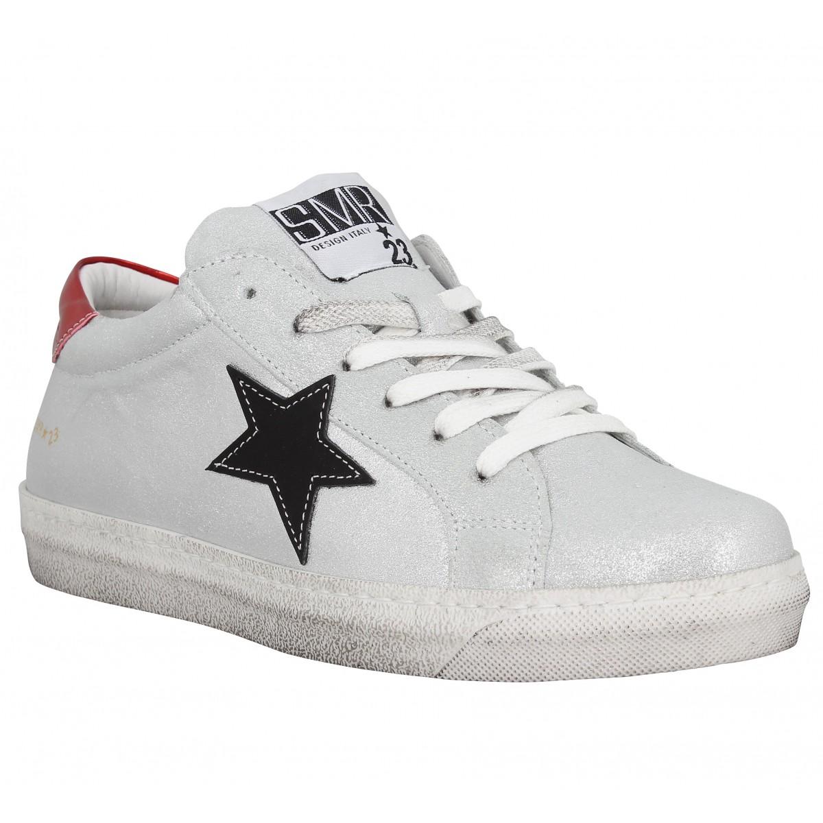 Semerdjian gecida star cuir femme argent femme   Fanny chaussures 3e1b8a57e633