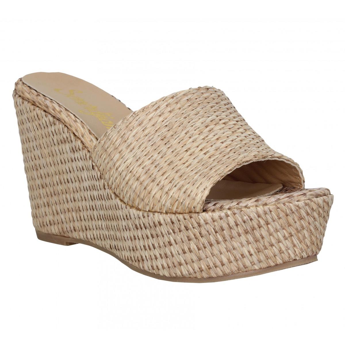 Sandales talons SEMERDJIAN Lea raffia Femme Cuoio