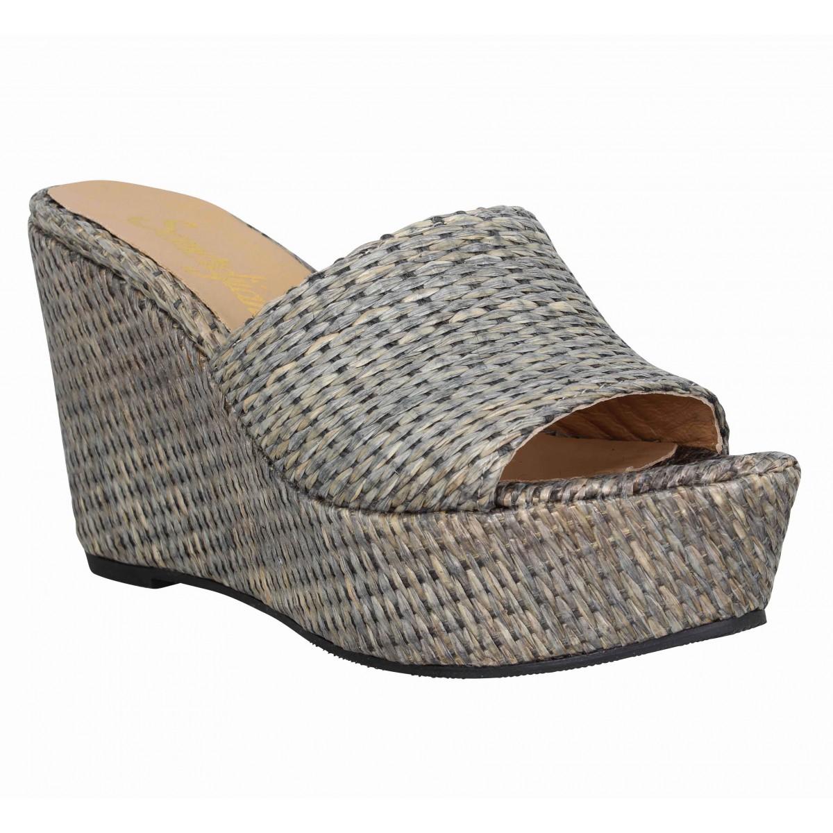 Sandales talons SEMERDJIAN Lea raffia Femme Noir
