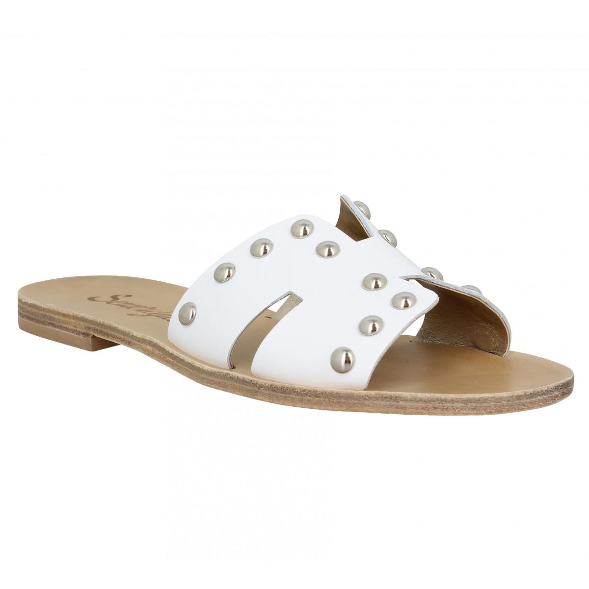 Nu-pieds SEMERDJIAN Piuma cuir Femme Blanc