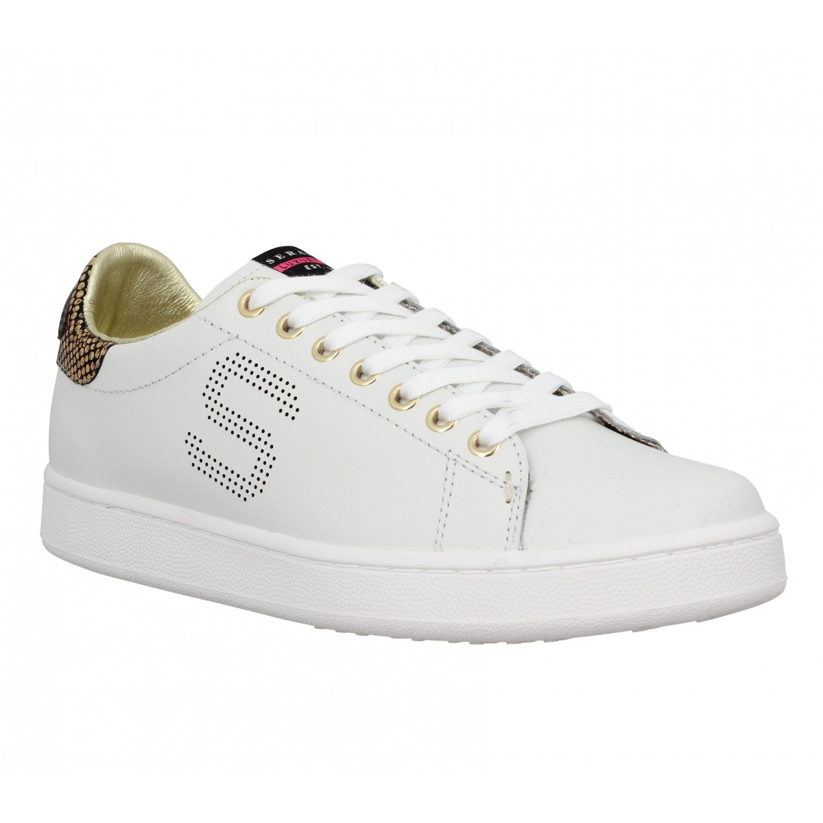 Baskets SERAFINI Connors lacet cuir Femme Blanc + Or