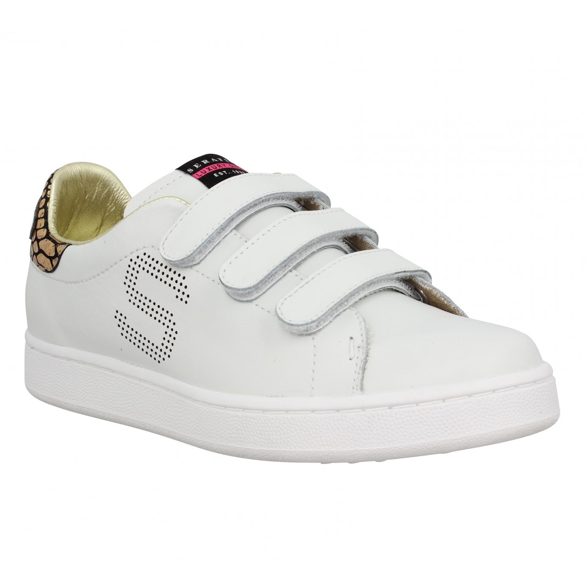 Baskets SERAFINI Connors velcro cuir Femme Blanc + Or