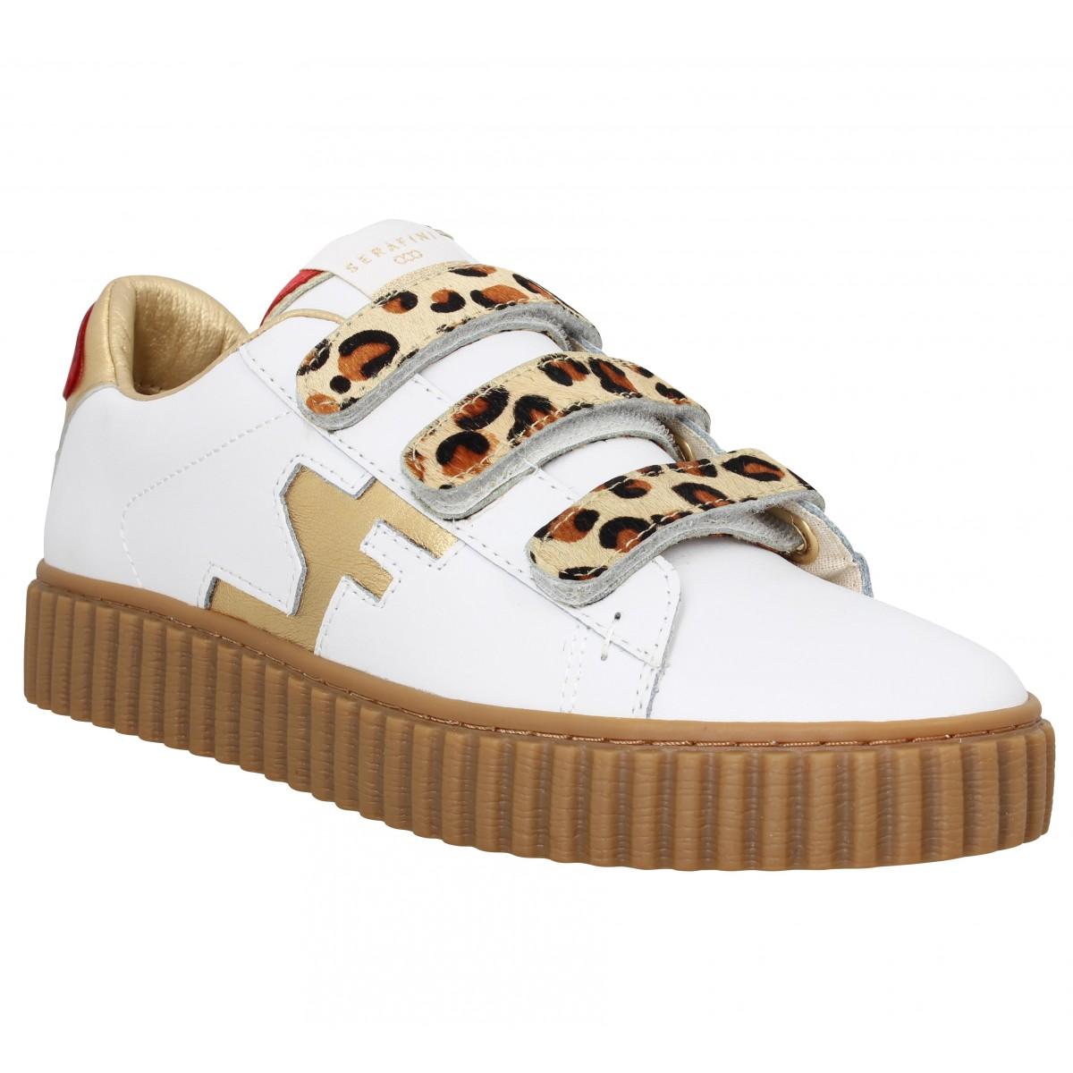 45f73086ed Serafini madison cuir femme blanc leopard femme   Fanny chaussures