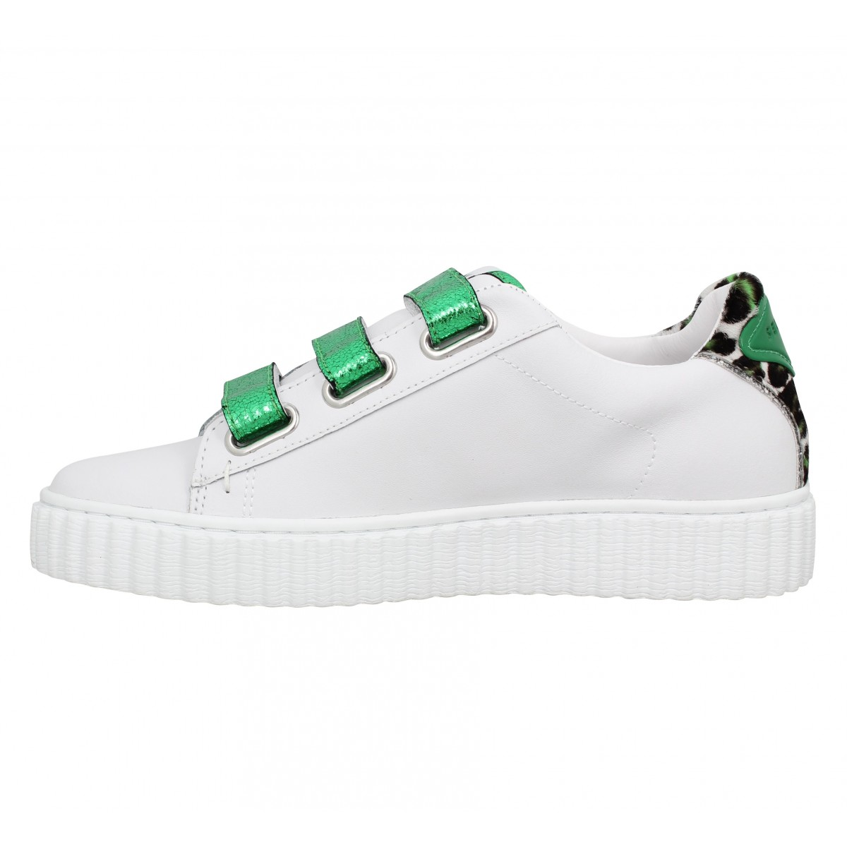 Chaussures Serafini madison cuir femme blanc vert femme