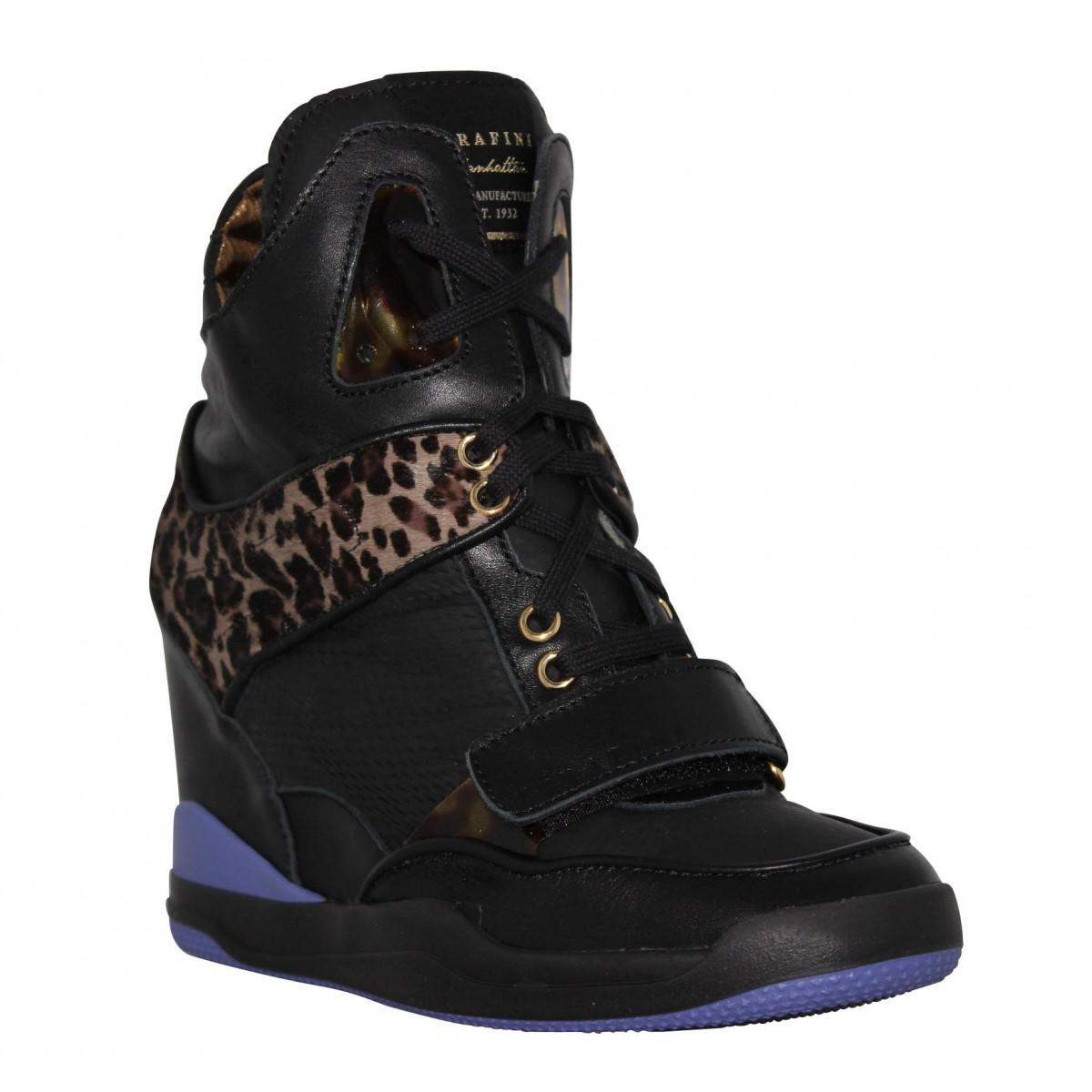 Bottines SERAFINI Madison cuir + leopard Femme Noir