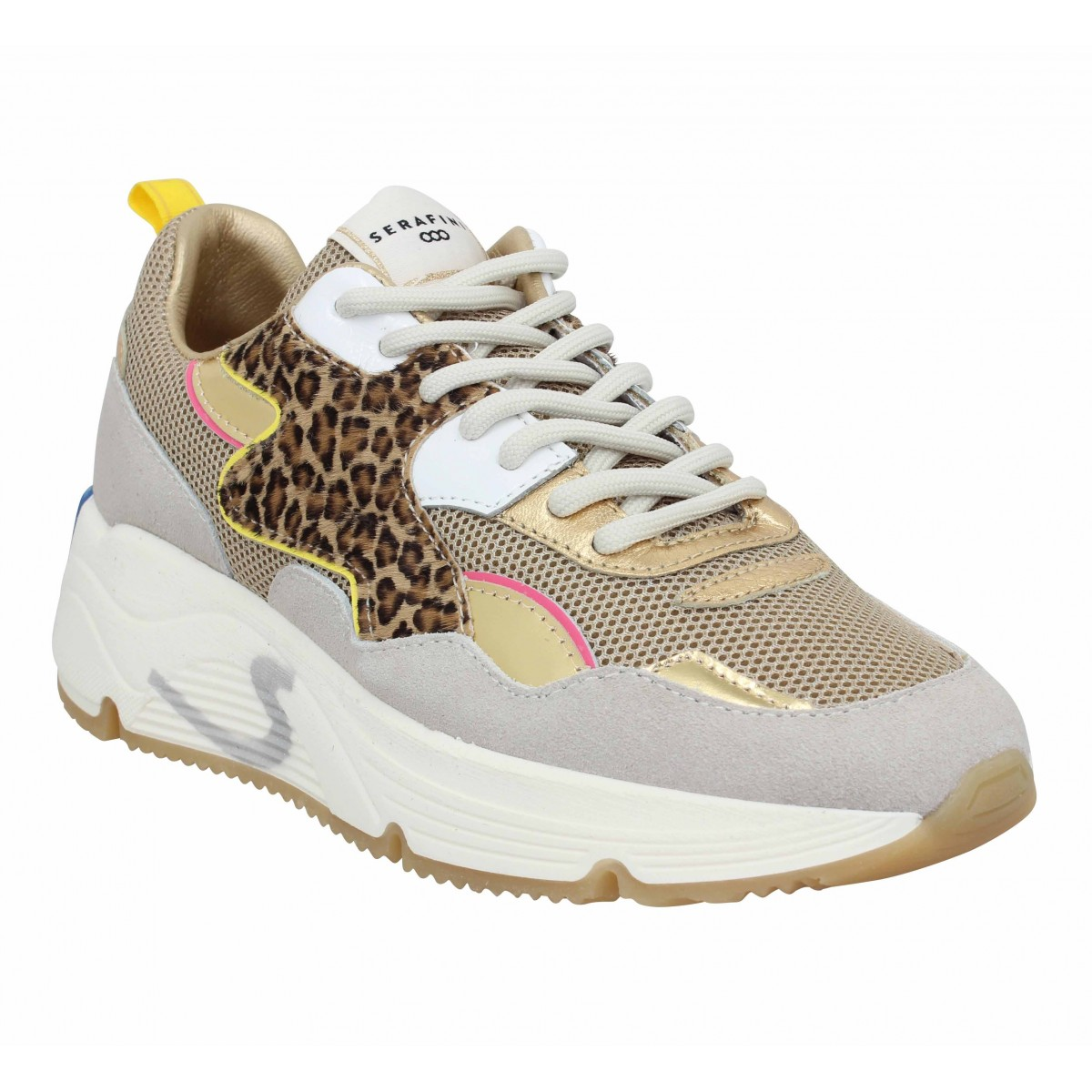 Baskets SERAFINI Malibu velours toile Femme Gold Leopard