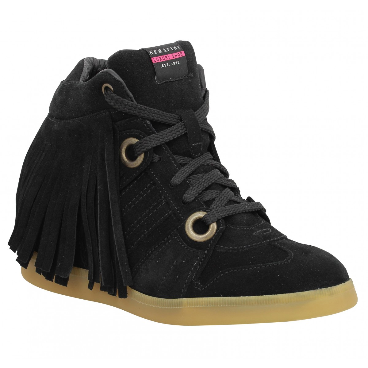 Bottines SERAFINI Manhattan Fringed velours Noir