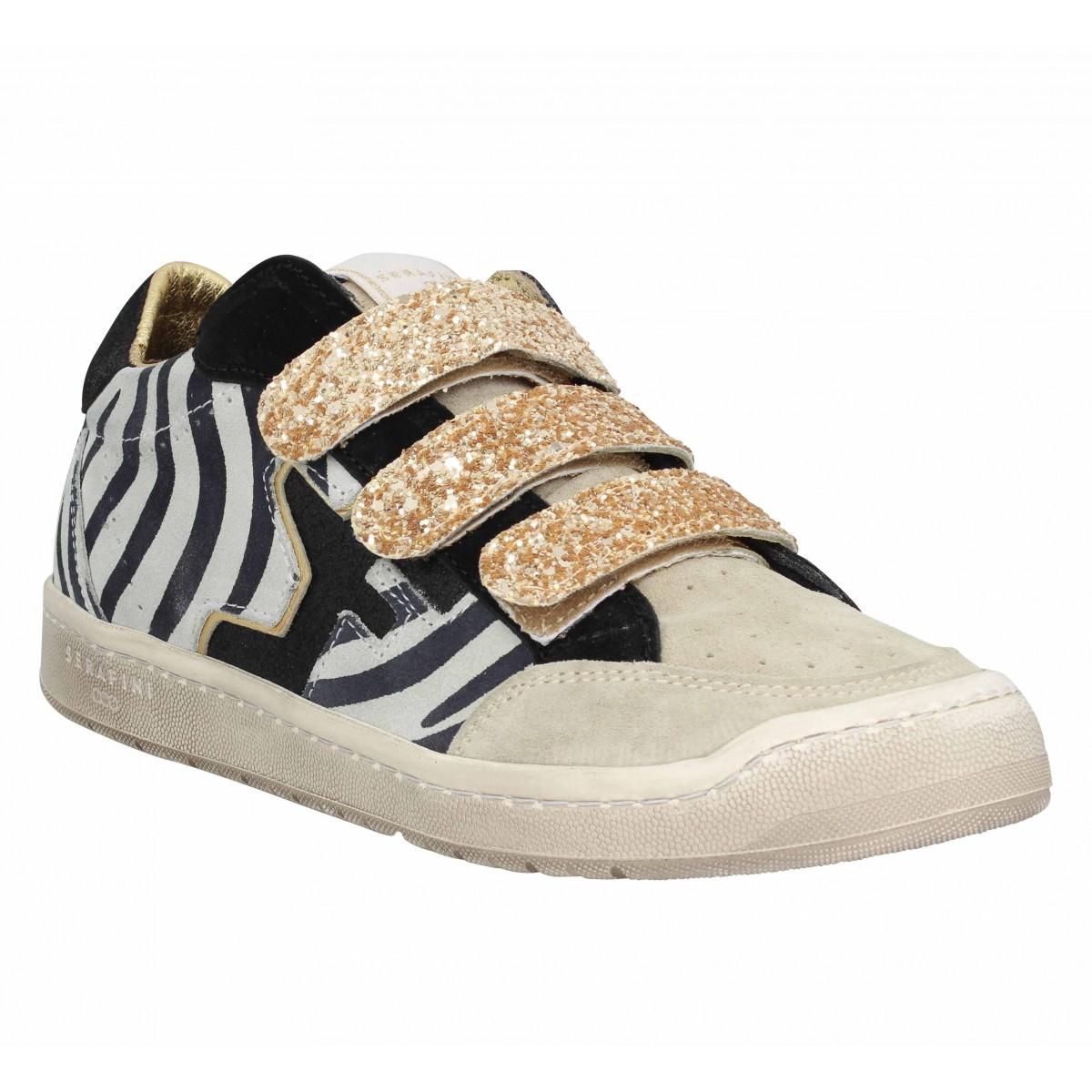 Baskets SERAFINI San Diego Low cuir Femme Zebra