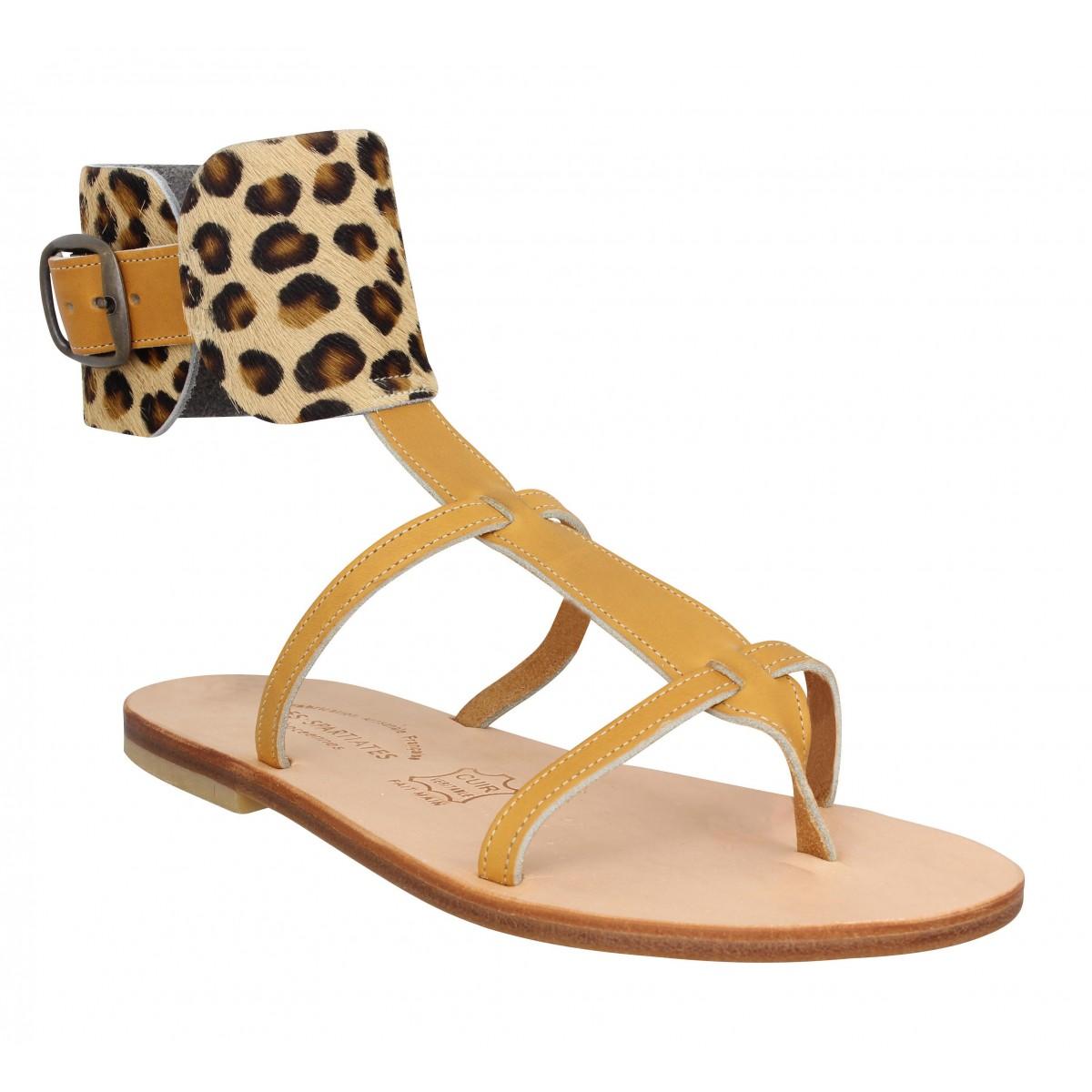 Nu-pieds SPARTIATES PHOCEENNES Alicia cuir Femme Naturel Leopard