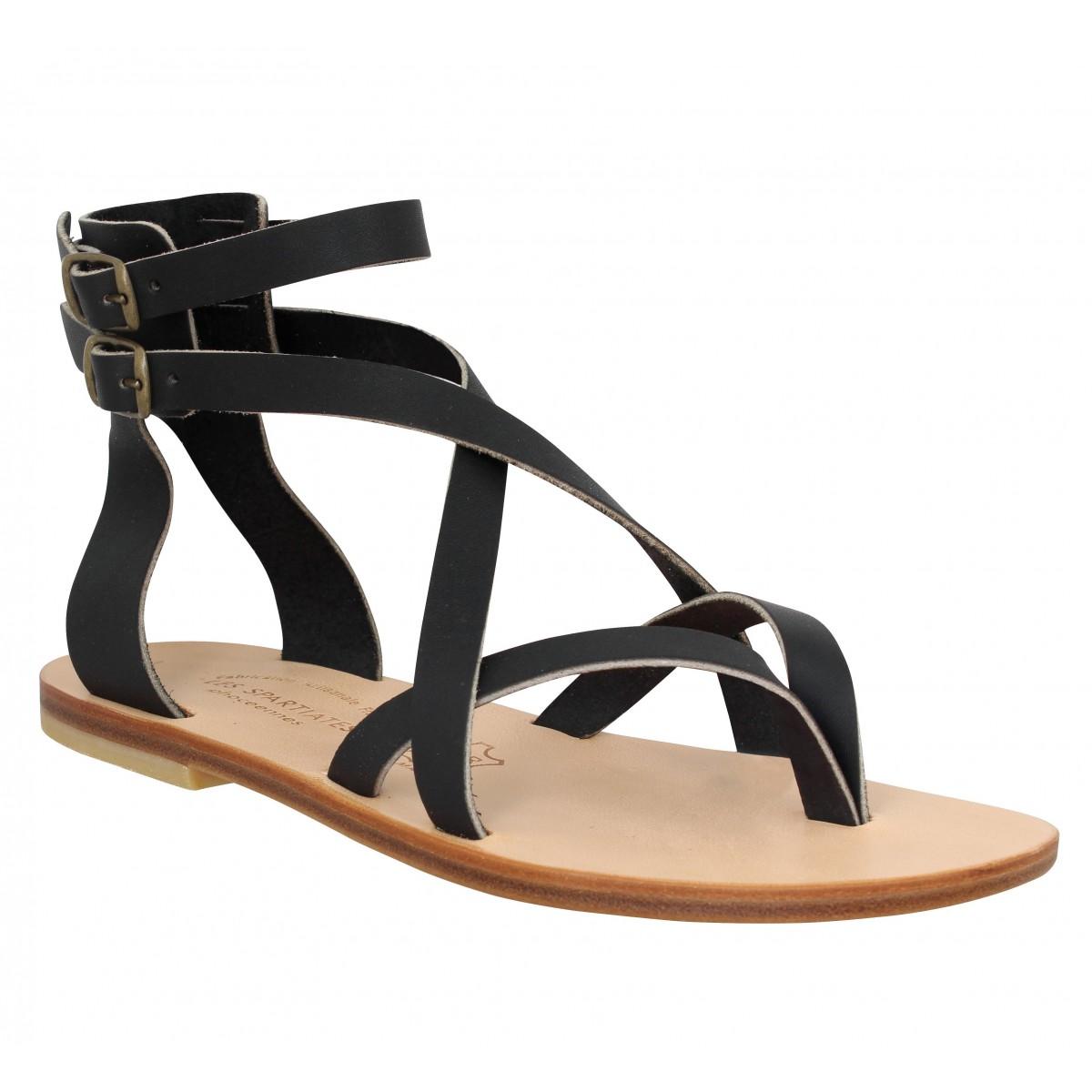 Nu-pieds SPARTIATES PHOCEENNES Paros cuir Femme Noir